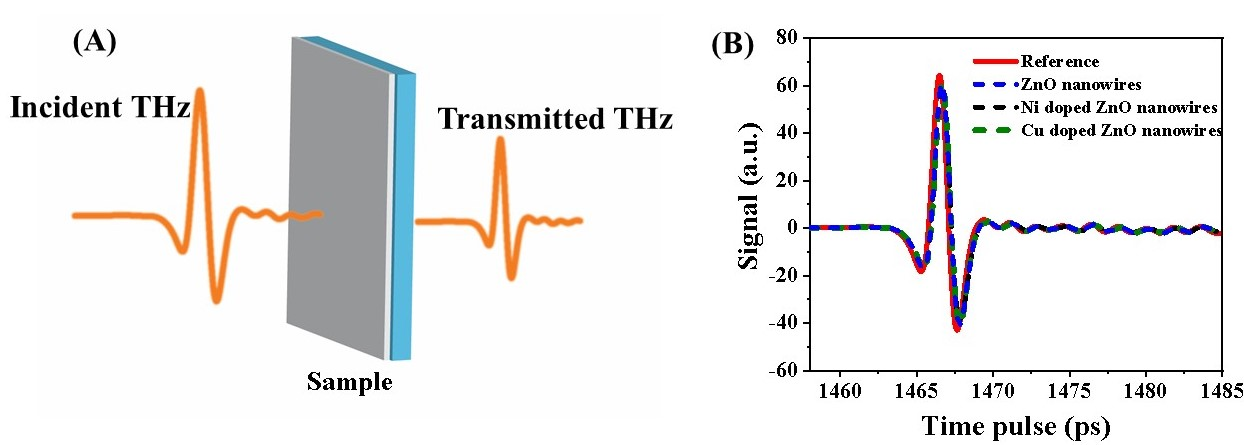 Fig.1.  A) Schematic representation of THz-TDS on nanowire samples B)  The THz pulses are measured after transmission from the samples.